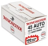 Winchester Ammunition Ammo USA .45ACP 230Gr. FMJ-RN 100-Value Pack