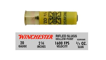 "Winchester 20Ga 2-3/4"" Super-X 3/4 Oz Hollow Point Slug"
