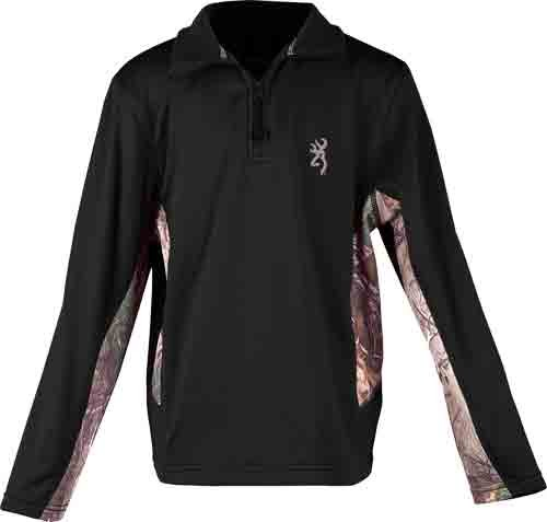 Bg Youth's L.sleeve Pullover 1/4 Zip Large Black/camo<