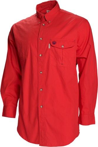 Beretta Shooting Shirt Large Long Sleeve Cotton Red