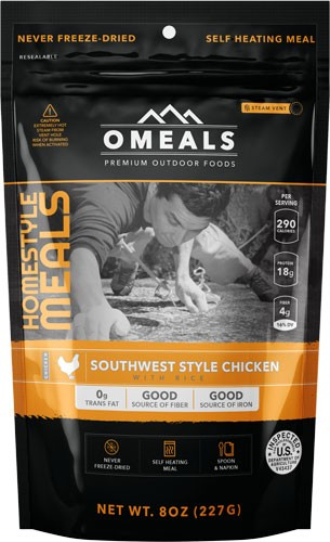 Omeals Southwest Chicken W/ Rice 8 Oz. Flamless Heating