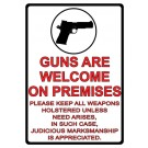 """Rivers Edge Sign 12""""x17"""" """"guns Are Welcome"""""""