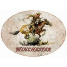 "Rockin'w Brand Winchester Horse & Rider Sign-oval 18""x11"