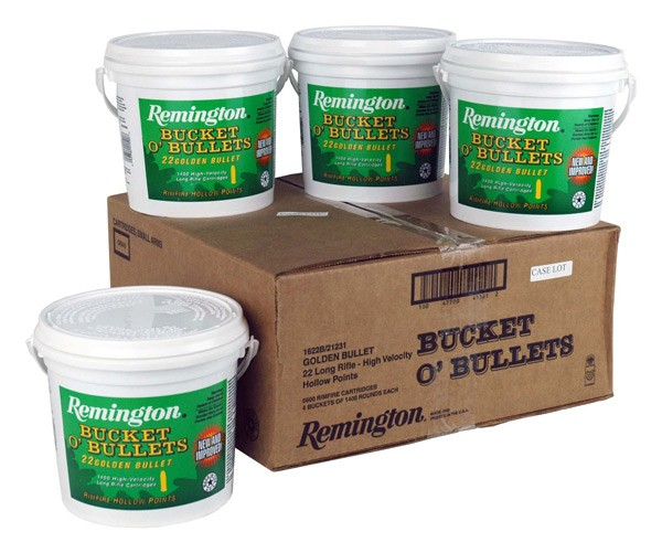 Remington Ammo .22LR Hv 36GR HP 1400 Rnd Bucket Caselot Only 4/Case