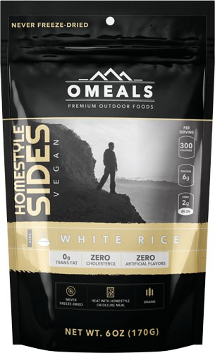 Omeals White Rice Side Dish 6 Oz. Flamless Heating