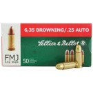 Sellier & Bellot Ammo .25ACP 50Gr. FMJ-RN 50-Pack