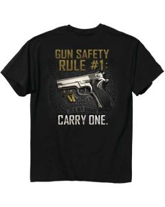 "Buck Wear T-Shirt ""gun Safety Rule"" S-Sleeve Black Medium"