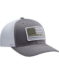 """Leupold Hat Trucker """"flag Patch"""" Charcoal/White Os"""