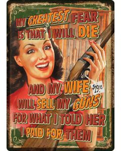 """Rivers Edge Embossed Sign 12""""x17"""" """"wife Sells Guns"""""""