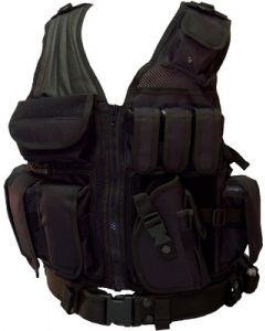 Red Rock Cross Draw Vest Black 3 Pistol And 3 M4 Mag Pouches