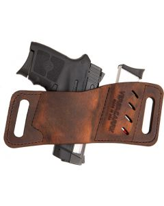 Versacarry Leather Mag Holder Double Stack Flex Vent Dis Brn