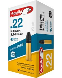 Aguila Ammo .22Lr Subsonic 1025Fps. 40Gr. Lead Rn 50-Pack