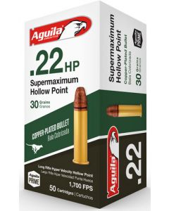 Aguila Ammo .22Lr Super Max 1700Fps. 30Gr. Lead Hp 50-Pack