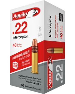 Aguila Ammo .22Lr Interceptor 1470Fps. 40Gr. Lead Rn 50-Pack