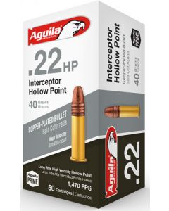 Aguila Ammo .22Lr Interceptor 1470Fps. 40Gr. Lead Hp 50-Pack