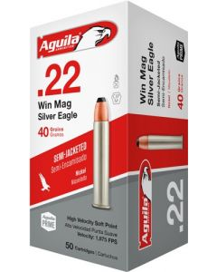 Aguila Ammo .22Wmr 1875Fps 40Gr. Jsp Nickle Case 50-Pack