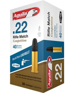 Aguila Ammo .22Lr Rifle Match 1080Fps. 40Gr. Lead Rn 50-Pack