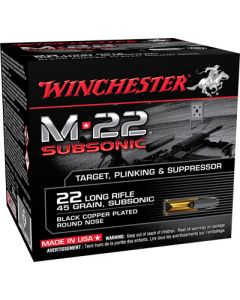 Winchester Ammo M-22 Subsonic .22lr 1255fps. 40gr. Lead Rn 800-pk.