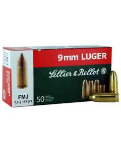Sellier & Bellot Ammo 9MM Luger 124Gr. FMJ 50-Pack