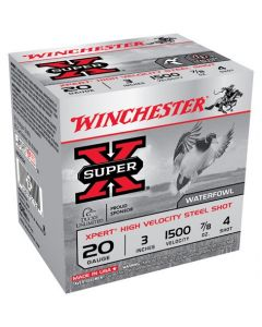 "Winchester Ammunition Ammo Xpert Steel 20GA. 3"" 1500FPS. 7/8Oz. #4 25-Pack"