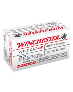 Winchester Ammunition Ammo Wildcat .22LR 1255FPS. 40Gr. Lead-RN 50-Pack