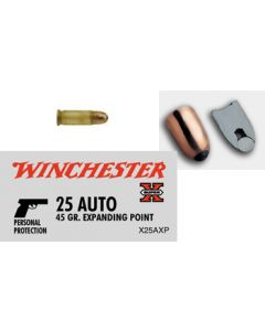 Winchester Ammunition Ammo Super-X .25ACP 45Gr. Expanding Point 50-Pack