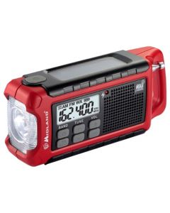 Midland Radio Emergency Crank Radio Am/Fm Noaa W/Flashlight Red