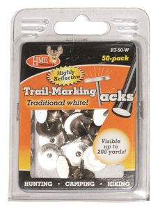 HME Reflective Trail Tacks Metal White 50/pk