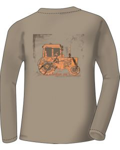 "Realtree Women's T-shirt Long Sleeve Large ""tractor"" Khaki"