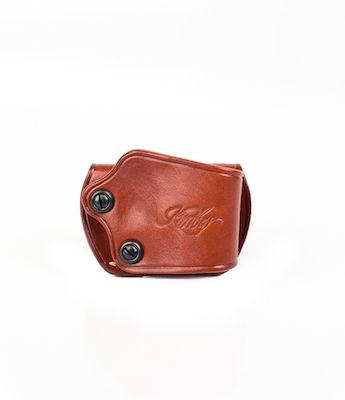 Kimber Yaqui slide belt holster for Ultra/Pro/Custom (3 to 5-inch) 1911  models, tan leather, tension screws, Kimber logo, by Galco