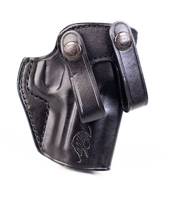 Kimber Inside-the-waistband holster for Ultra-size (3-inch) 1911 models,  black leather, Kimber logo, by Galco