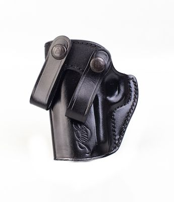 Kimber Inside-the-waistband holster (left hand) for Ultra-size (3-inch)  1911 models, black leather, Kimber logo, by Galco