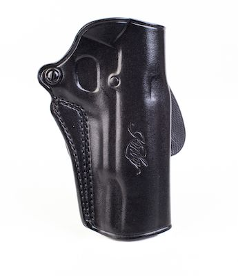 Kimber Speed paddle holster for full-size (5-inch) 1911 models, black  leather, Kimber logo, by Galco