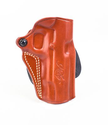 Kimber Speed paddle holster for Pro-size (4-inch) 1911 models, tan leather,  Kimber logo, by Galco