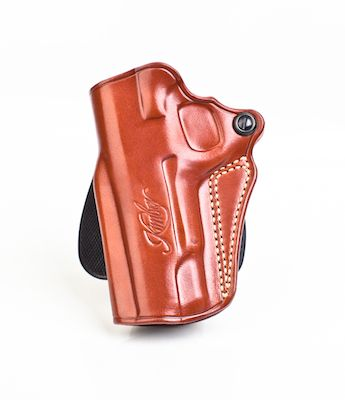 Kimber Speed paddle holster (left hand) for Pro-size (4-inch) 1911 models,  tan leather, Kimber logo, by Galco