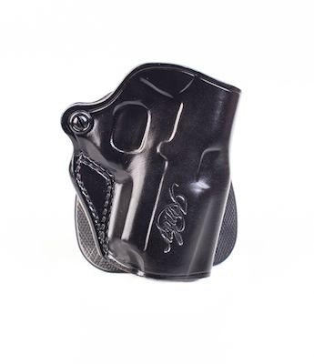 Kimber Speed paddle holster for Ultra-size (3-inch) 1911 models, black  leather, Kimber logo, by Galco