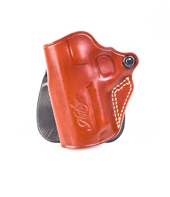 Kimber Speed paddle holster (left hand) for Ultra-size (3-inch) 1911  models, tan leather, Kimber logo, by Galco
